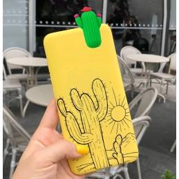 Żółte etui lalka wzory KAKTUS Samsung Galaxy M21