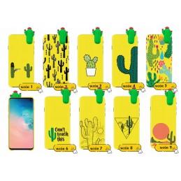 Żółte etui lalka wzory KAKTUS Samsung Galaxy A21s