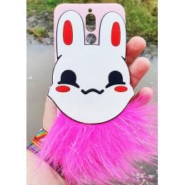 Etui ZAJĄC FUTERKO Pink do Apple iPhone XR guma case tanio pokrowiec telefon