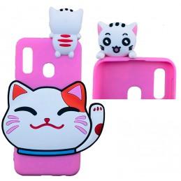 Etui ZAJĄC FUTERKO Pink do Huawei Mate 20 Lite guma case tanio pokrowiec telefon